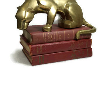 Stunning Large Mid Century Brass Figurine Unique Cat Large Brass Puma Shelf Sculpture Figurine Deco Style Modern