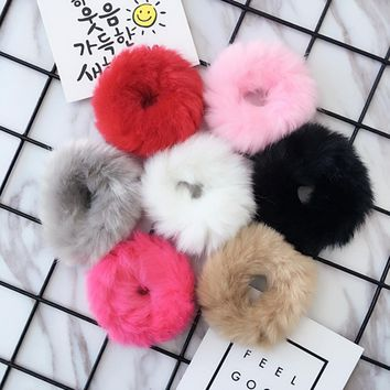 New Fashion Children Kids Pom Pom Faux Fur Winter Elastic Hair Bands Bunny Babygirl Headwear Head Wear White Pink Gray Red 1 PC