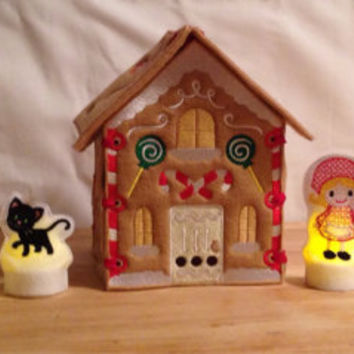 Hansel and Gretel gingerbread house and flameless tealight covers embroidered, Christmas, fairy tale fairytale, storytime, story book, witch