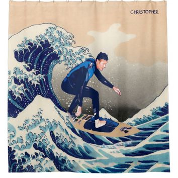 Funny Surfer Surfing On The Hokusai Great Wave Shower Curtain
