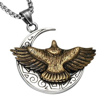 Eagle Moon Necklaces For Men Biker Cool Titanium Stainless Steel