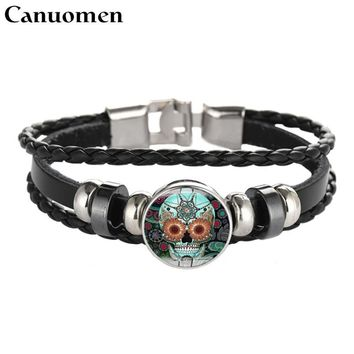 Canuomen Skeleton Leather Bracelet Skull Glass Cabochon Black DIY Handmade Hip hop Charm Bracelets Punk Men Jewelry