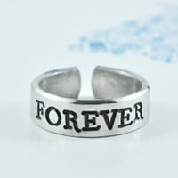 FOREVER - Hand Stamped Aluminum Ring, BFF gift