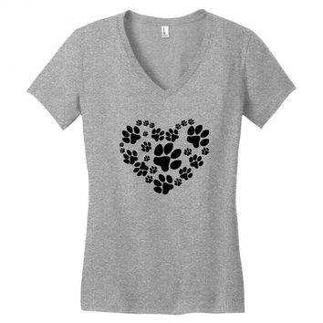 cat love paw Women's V-Neck T-Shirt