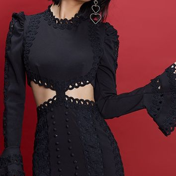 Endless Romance Lace Long Flare Sleeve Round Neck Cut Out Side Bodycon Mini Dress - 2 Colors Available