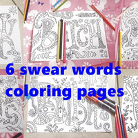 swear words adult coloring book sweary page mature content download colouring art book home decor coworker printable digital lasoffittadiste