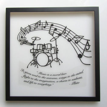 DRUMS Music Notes and Quote Silhouette Paper Cut Handmade, GRADUATION Gift, ORIGINAL Wall and Home Décor Framed OOaK Custom Order for Lynda