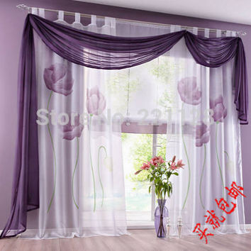 Price for one pieve three color floral beautiful window screening Balcony Sheer curtains for Living Room Window blind tulle