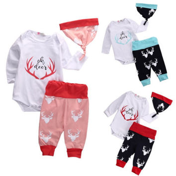 Christmas Newborn Baby Girl Boy Outfits Deer Romper Tops+Pants Leggings Hat baby boys Girls clothes newborn infant 3pcs suit