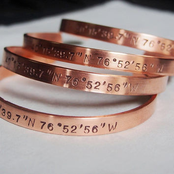 Copper Coordinate bracelets, Copper bracelet, coordinates bracelet, copper gift for her, Latitude longitude, personalized Bridal gift ideas