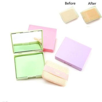 ONETOW ZD 50 Sheets/Box Tissue Papers With Mirror Oil Absorbing Facial Cleanser Shrink Pores Blotting Makeup Cleansing Tools CO8045