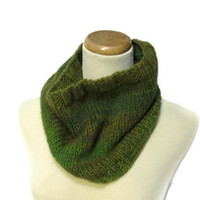 Rain Forest Hand Knit Cowl/Infinity/Circular Scarf - Green Brown