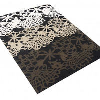 Michael Anthony Furniture Hand Tufted 5x8 Black Floral New Zealand Wool Blend Area Rug