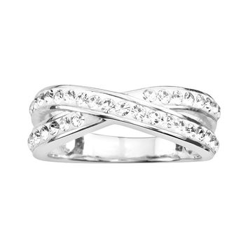 Silver Plated Crystal Crisscross Ring (Brass/White/Silver)