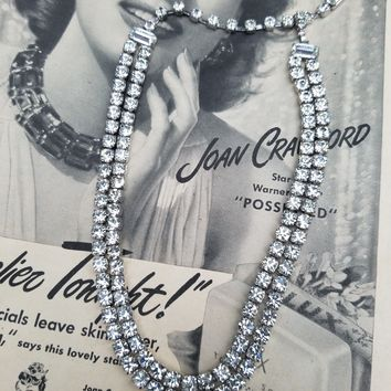 Weiss signed vintage clear rhinestone double stranded necklace Stunning and bright