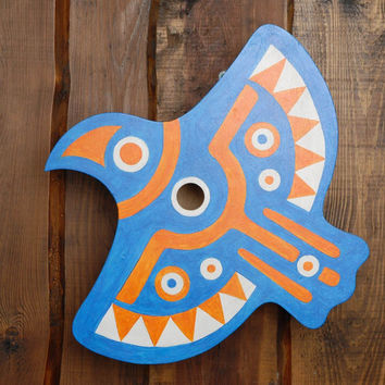 Painted wooden birdhouse shape of bird handmade eco friendly home decor present