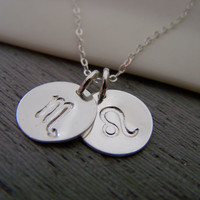 Two Disc - Two Signs - Astrology Necklace - Zodiac Sign Symbol Sterling Silver Necklace - Choose Your Sign - Zodiac Necklace / Gift for Her