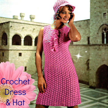 Retro Party Dress Crochet Pattern and Hat Crochet Pattern Dress with JABOT + coordinating Hat Club Dress Festival Dress Instant Digital PDF