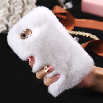 5S 6S 100% Genuine Rabbit Fur Hair Case For Apple iPhone 5 5S SE 6 6S For iPhone 6 6S Plus 5.5 Glitter Diamond Warm Winter Cover