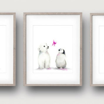 Pink Nursery Art, Set of 3, Penguin Nursery, Polar Bear Art, Arctic Animals, Baby Girl Art, Childrens Wall Decor, Painting, Baby Animals