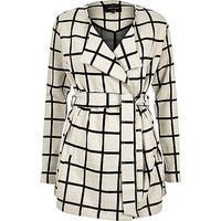 Cream check lightweight belted jacket - jackets - coats / jackets - women