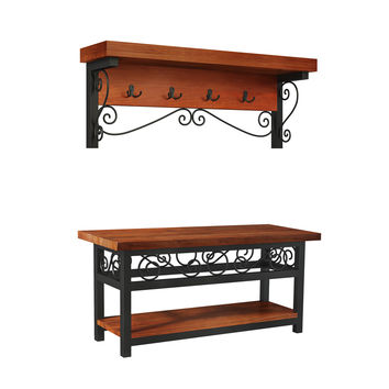 Whitby Chestnut Wood and Metal Scroll Coat Hook / Bench Set