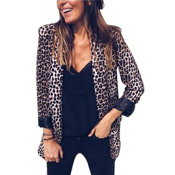 Leopard Snake Print Blazer Women Office Lady Casual Suits & Blazer 2018 Autumn Winter Fashion Long Sleeve Pocket Blazers Jackets