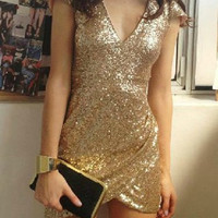 Sequined Plunging Neck Mini Dress