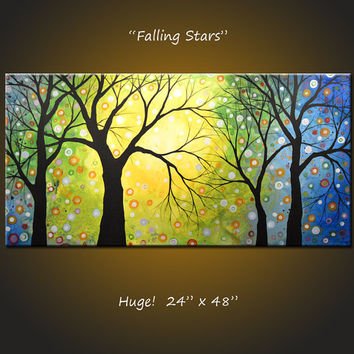 "Original Large Landscape Abstract Painting Modern Contemporary... 24 x 48 .. ""Falling Stars"", by Amy Giacomelli"