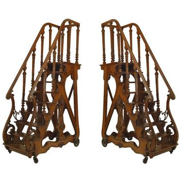 Pair of Important Library Ladders Attributed to Napoleon III's Library