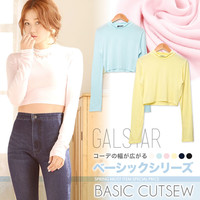 [BASICLINE] Simple basic ぷち high neck shortstop length cut-and-sew tops [have been received] [correspondence]