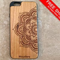 Wooden iPhone Cases - mandala - mandala iphone case - iPhone 6 - 4/4s, 5/5s and iPhone 6 - precision engraved mandala design - FREE SHIPPING