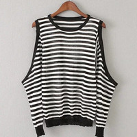 Cold Shoulder Striped Sweater in Knit