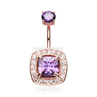 Rose Gold Sparkle Essentia Belly Button Ring (Purple/Clear)