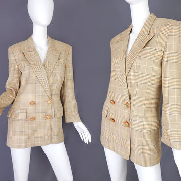 Sz 4 Vintage 80s Double Breasted Houndstooth Women's Blazer - Beige and Brown