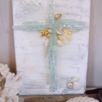 "Beach House Decor Glass Cross on 9"" x 12"" Canvas White and Silver with Real Seashells and Resin"