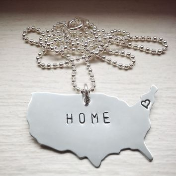 HOME Sterling Silver Hand Stamped Personalized Necklace