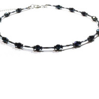 Black Crystal  Beaded Necklace ,  Metallic Black Faceted Crystals , Black Crystal & Hematite Beaded Necklace