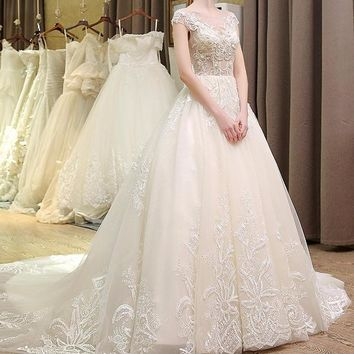 French Lace Backless Wedding Dress