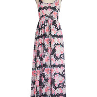 ModCloth Vintage Inspired Long Sleeveless Maxi Show Me the Bunny Dress