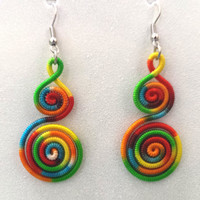 Silk wrap earring, boho tribal ethnic jewelry, festival jewelry, rainbow, spiral earring, gift for teen girls friends, dangle earring, funky