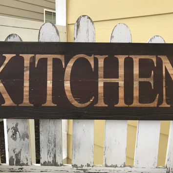 Distressed Kitchen Sign - Red Kitchen Sign - Brown Kitchen Sign - Kitchen Wall Hanging - Rustic Kitchen Decor - Foodie Gift - Wooden Sign