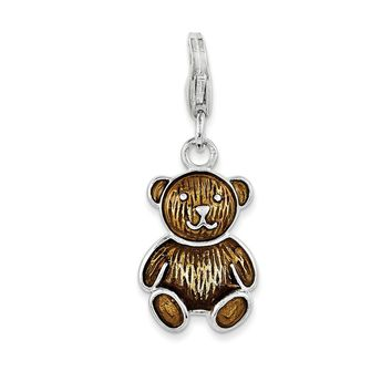 925 Sterling Silver Enameled Teddy Bear with Lobster Clasp Charm