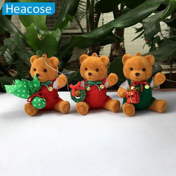 3pcs/lot cute plush dolls bear Christmas Tree decorations new year Hanging Ornament navidad Santa Claus bear toys gifts 2017