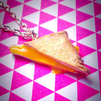 Miniature Food Jewelry//Grilled Cheese Necklace//Geekery//Polymer Clay//Cyber Monday Sale