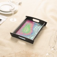Vibrant Citrus Leaf Veins in Rainbow Colors Tray Serving Platters