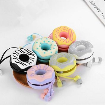 Cute Donuts Macarons Earphones 3.5mm in-ear Stereo Earbuds with mic Earphone Case for iPhone Xiaomi Girls Kid MP3 Gift