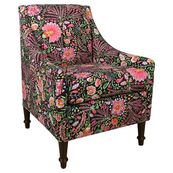 Holmes Armchair, Black/Pink Floral, Accent & Occasional Chairs