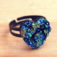 Handmade Druzy Heart Above the Knuckle / Adjustable Ring