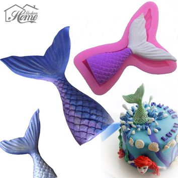Cute Mermaid Tail Silicone Mold Fondant Cake Cupcake Decorating Tools Gum Paste Chocolate Candy Moulds Kitchen Baking DIY